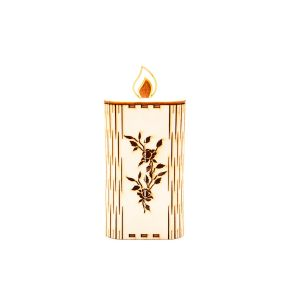 Lesena sveča - rože (velika)